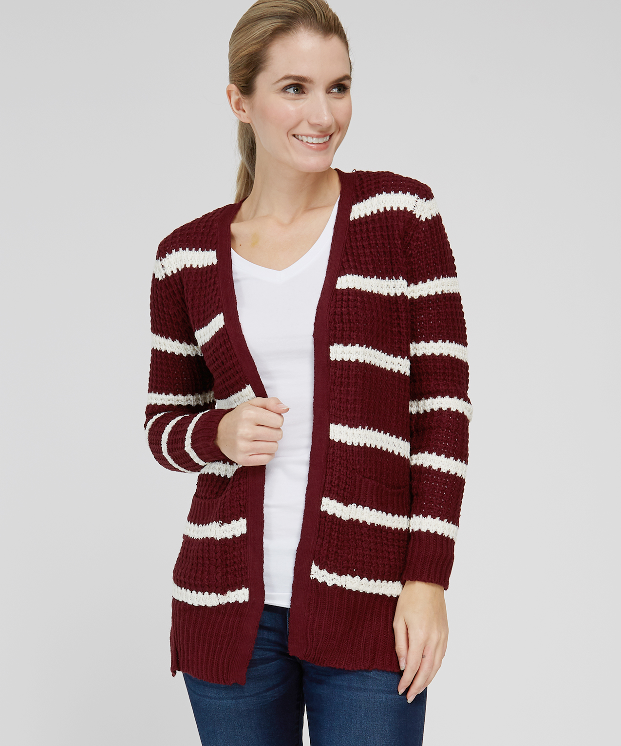 7f9b9c2907 striped cardigan with lace up back - wb