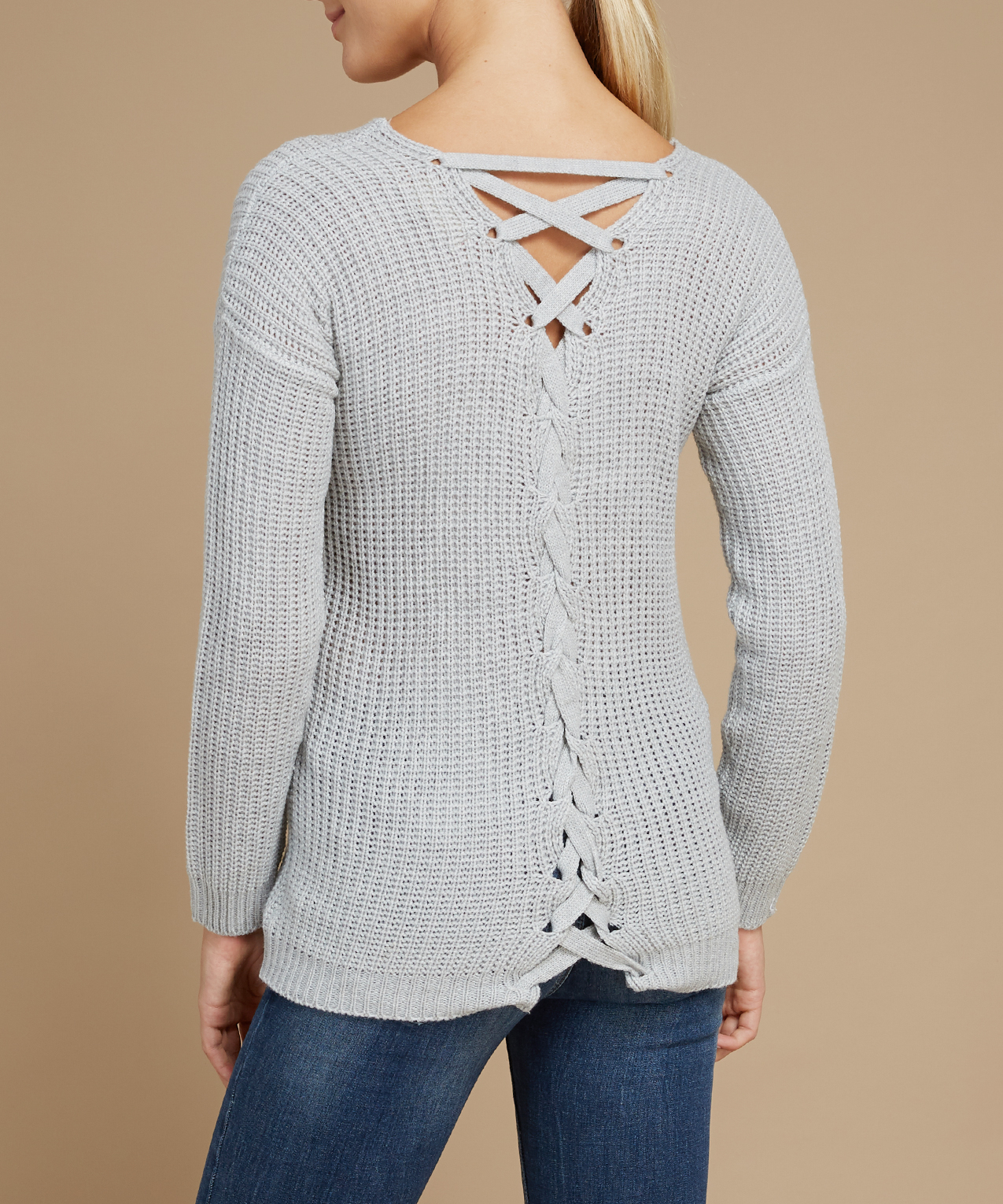 53f46c37bc ... lace up back popover sweater - wb